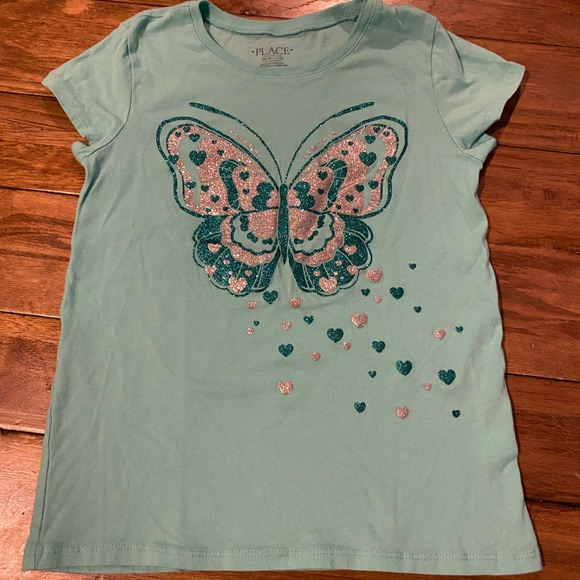 NWOT never worn girls 7/8 glitter butterfly tee